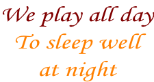 We play all day To sleep well  at night